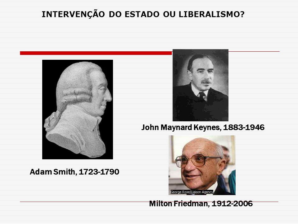 John Maynard Keynes, 1883-1946 Milton Friedman, 1912-2006 Adam Smith, 1723-1790 INTERVENÇÃO DO ESTADO OU LIBERALISMO?