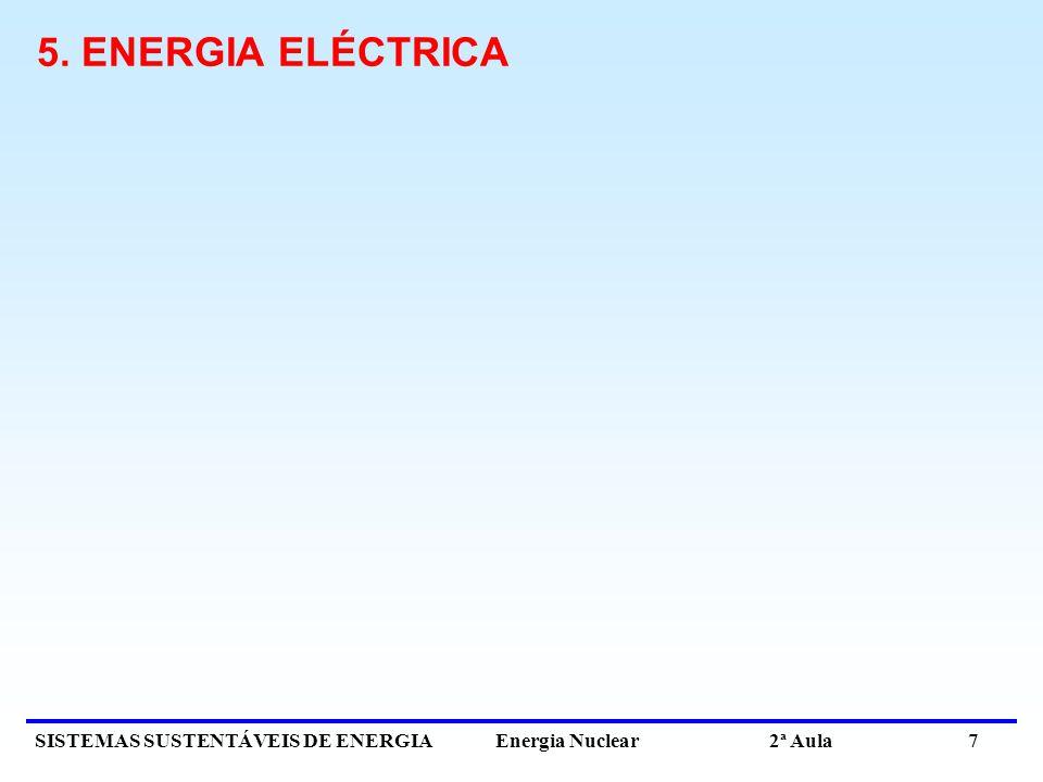 SISTEMAS SUSTENTÁVEIS DE ENERGIA Energia Nuclear 2ª Aula 7 5. ENERGIA ELÉCTRICA