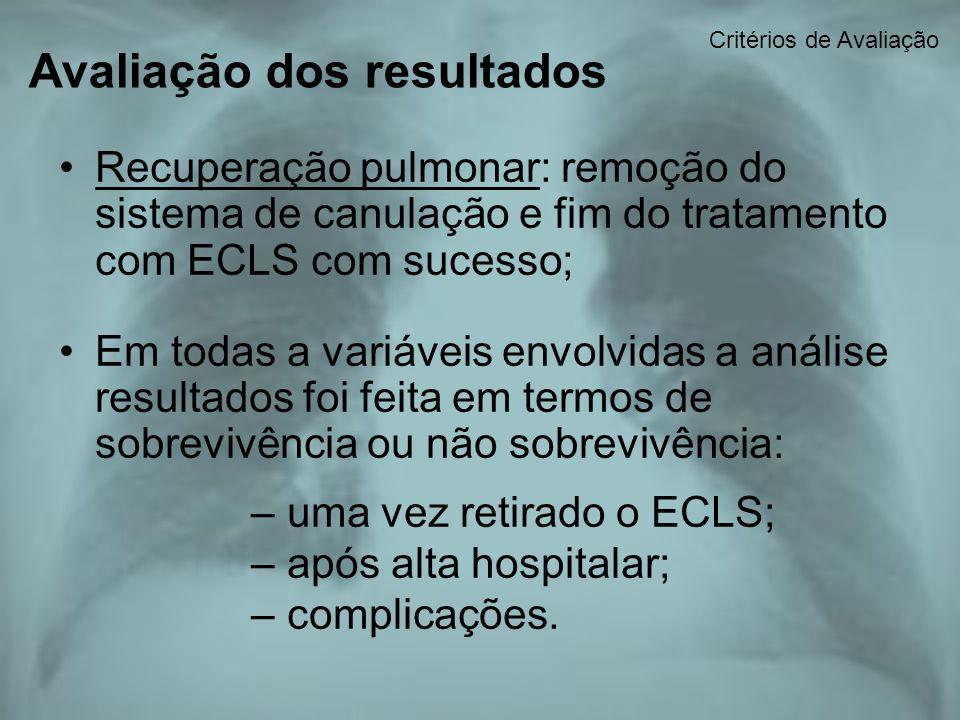 Avaliação dos resultados Recuperação pulmonar: remoção do sistema de canulação e fim do tratamento com ECLS com sucesso; Em todas a variáveis envolvid