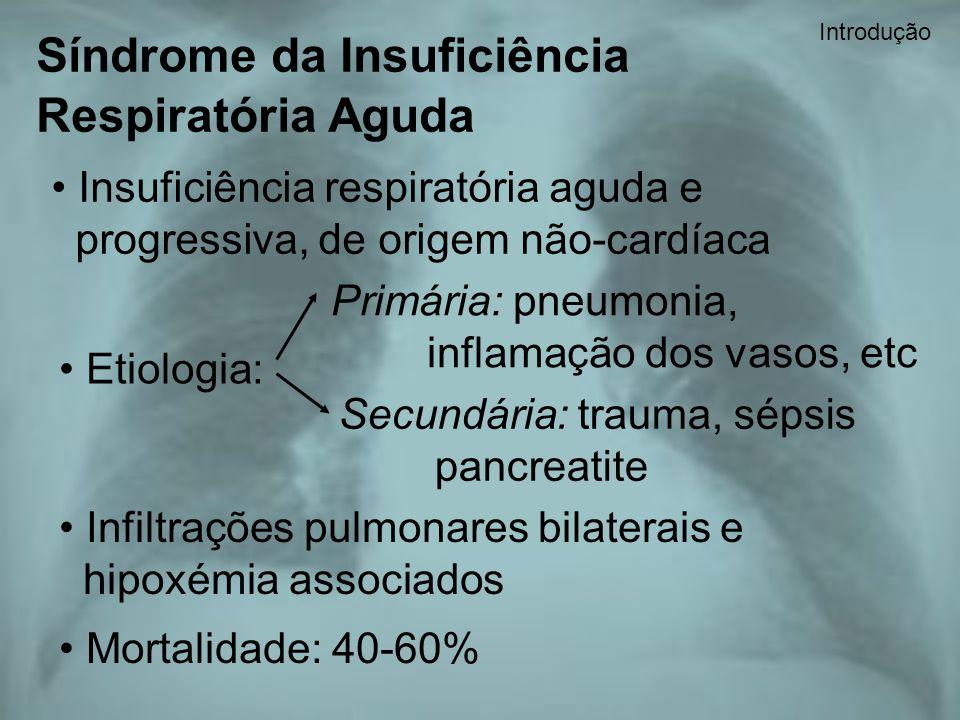 Síndrome da Insuficiência Respiratória Aguda Insuficiência respiratória aguda e progressiva, de origem não-cardíaca Etiologia: Primária: pneumonia, in