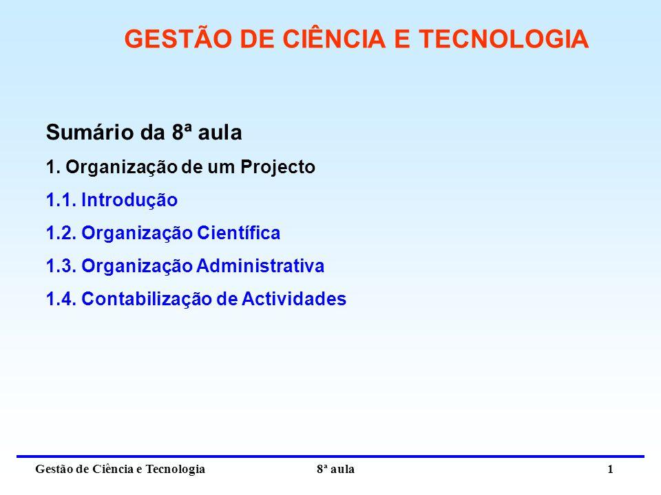 Gestão de Ciência e Tecnologia 8ª aula 2 1.ORGANIZAÇÃO DE UM PROJECTO 1.1.