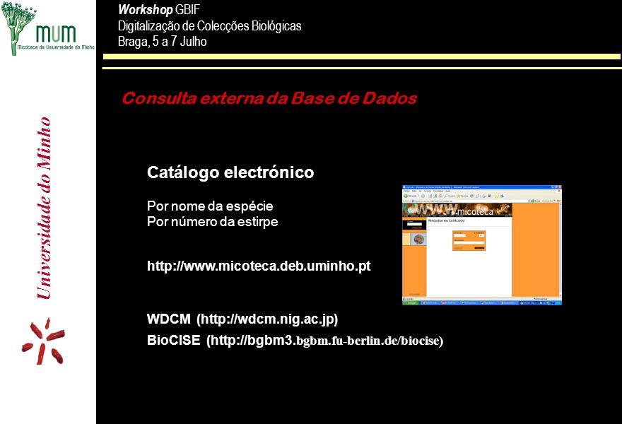 Universidade do Minho Workshop GBIF Digitalização de Colecções Biológicas Braga, 5 a 7 Julho Workshop GBIF Digitalização de Colecções Biológicas Braga, 5 a 7 Julho Consulta externa da Base de Dados Catálogo electrónico Por nome da espécie Por número da estirpe WDCM (http://wdcm.nig.ac.jp) BioCISE (http://bgbm3.