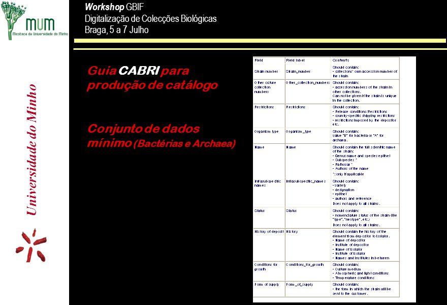 Universidade do Minho Workshop GBIF Digitalização de Colecções Biológicas Braga, 5 a 7 Julho Workshop GBIF Digitalização de Colecções Biológicas Braga, 5 a 7 Julho Guia CABRI para produção de catálogo Conjunto de dados mínimo (Bactérias e Archaea)