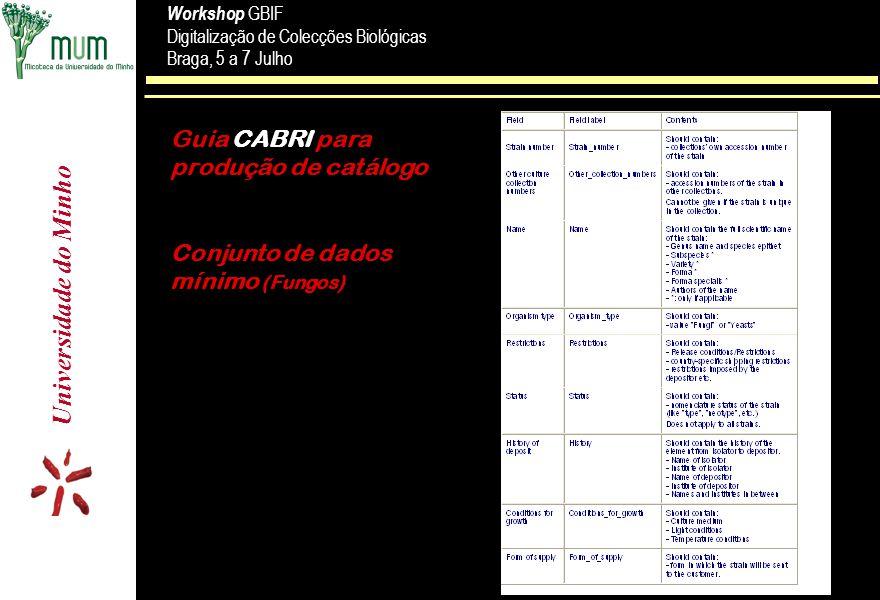 Universidade do Minho Workshop GBIF Digitalização de Colecções Biológicas Braga, 5 a 7 Julho Workshop GBIF Digitalização de Colecções Biológicas Braga, 5 a 7 Julho Guia CABRI para produção de catálogo Conjunto de dados mínimo (Fungos)