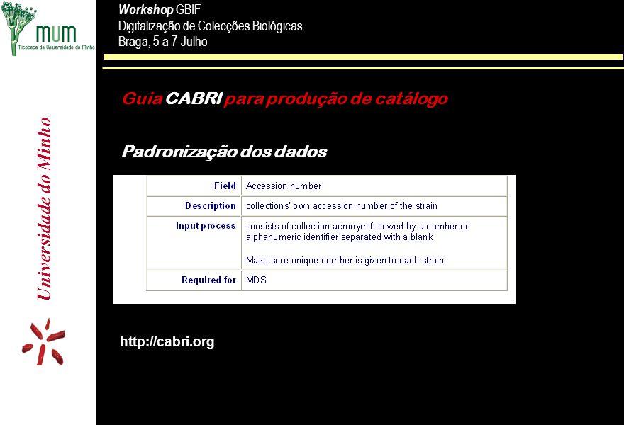 Universidade do Minho Workshop GBIF Digitalização de Colecções Biológicas Braga, 5 a 7 Julho Workshop GBIF Digitalização de Colecções Biológicas Braga, 5 a 7 Julho Guia CABRI para produção de catálogo Padronização dos dados http://cabri.org