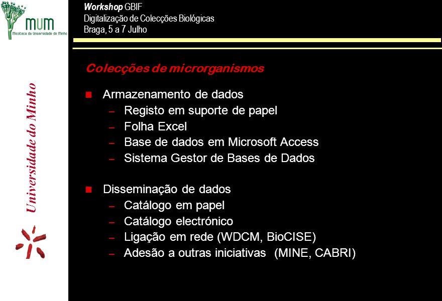 Universidade do Minho Workshop GBIF Digitalização de Colecções Biológicas Braga, 5 a 7 Julho Workshop GBIF Digitalização de Colecções Biológicas Braga, 5 a 7 Julho Estrutura geral da base de dados MDS Type of record L,R,C,P min.