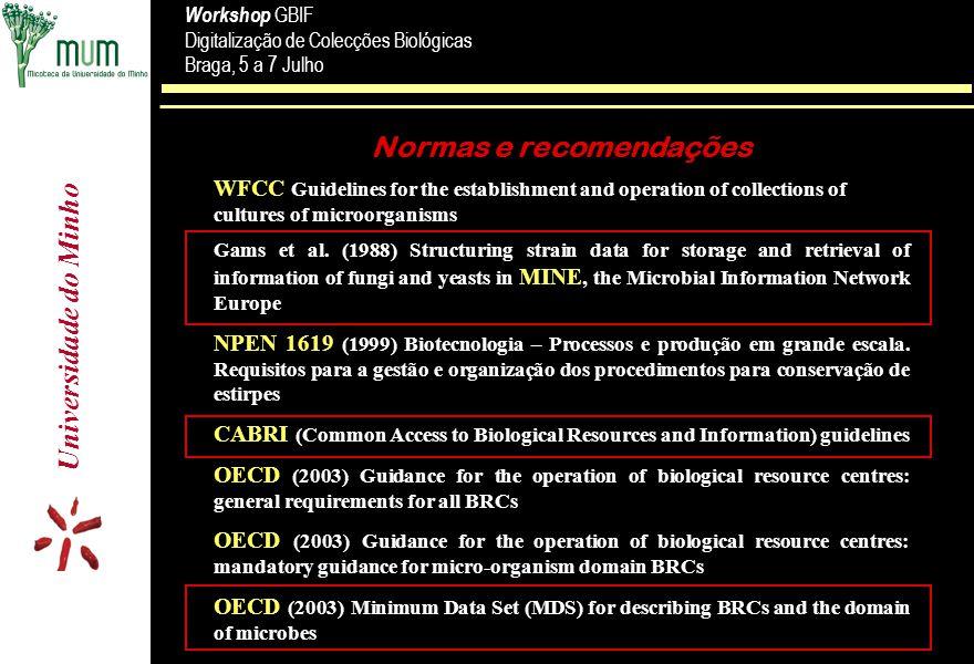 Universidade do Minho Workshop GBIF Digitalização de Colecções Biológicas Braga, 5 a 7 Julho Workshop GBIF Digitalização de Colecções Biológicas Braga, 5 a 7 Julho Registo de estirpes Administração da estirpe n n Número n n Número noutras colecções n n Data de entrada na colecção n n Data de recepção n n Nº de ordem n n Autenticidade n n Restrições n n Categoria n n Tipo de depósito (L, R, C, P,...) n n Forma de envio Proveniência/ História n n Substrato/ hospedeiro n n Origem geográfica n n Recolhido por n n Isolado por n n Método de isolamento n n Identificado por n n Depositante n n Herbário n n História n n Nomes prévios