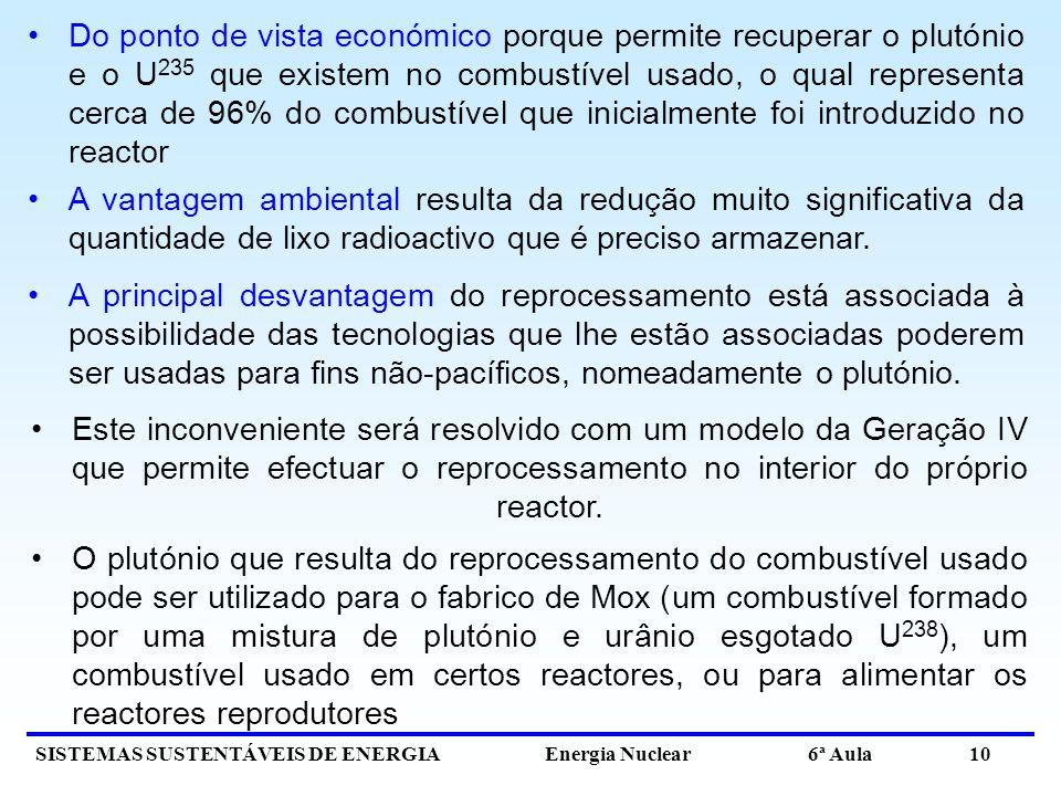 SISTEMAS SUSTENTÁVEIS DE ENERGIA Energia Nuclear 6ª Aula 10 Este inconveniente será resolvido com um modelo da Geração IV que permite efectuar o repro