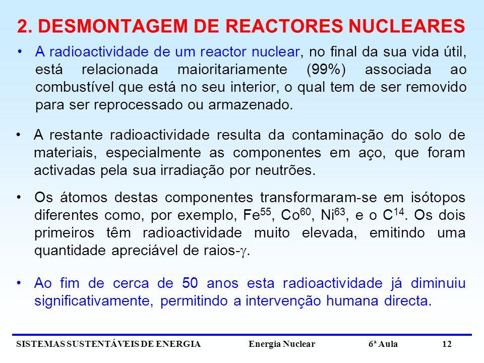 SISTEMAS SUSTENTÁVEIS DE ENERGIA Energia Nuclear 6ª Aula 12 2. DESMONTAGEM DE REACTORES NUCLEARES A radioactividade de um reactor nuclear, no final da