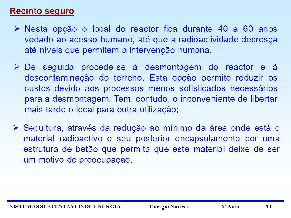SISTEMAS SUSTENTÁVEIS DE ENERGIA Energia Nuclear 6ª Aula 14 Recinto seguro De seguida procede-se à desmontagem do reactor e à descontaminação do terre