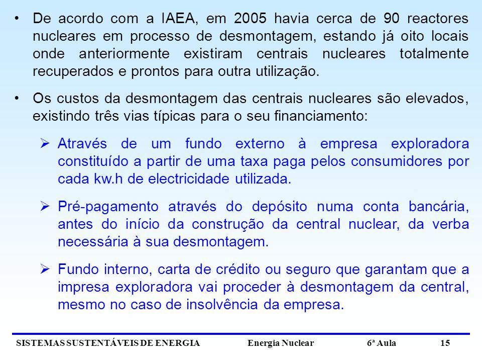 SISTEMAS SUSTENTÁVEIS DE ENERGIA Energia Nuclear 6ª Aula 15 De acordo com a IAEA, em 2005 havia cerca de 90 reactores nucleares em processo de desmont
