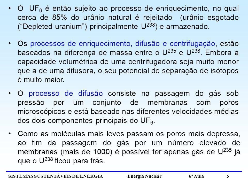 SISTEMAS SUSTENTÁVEIS DE ENERGIA Energia Nuclear 6ª Aula 5 O UF 6 é então sujeito ao processo de enriquecimento, no qual cerca de 85% do urânio natura