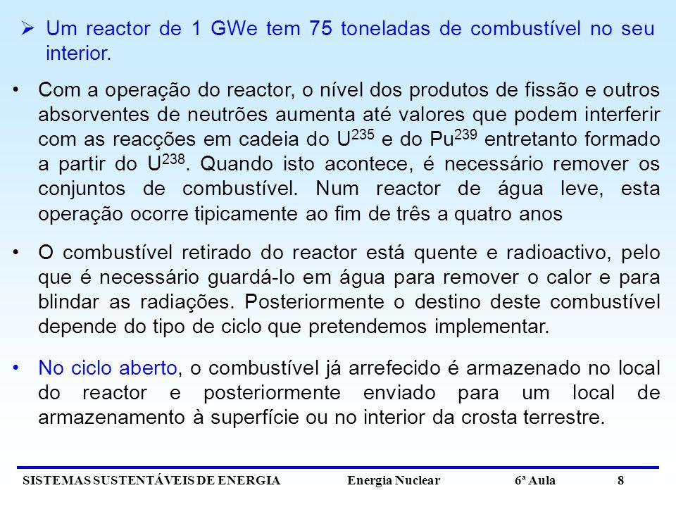 SISTEMAS SUSTENTÁVEIS DE ENERGIA Energia Nuclear 6ª Aula 8 Um reactor de 1 GWe tem 75 toneladas de combustível no seu interior. Com a operação do reac