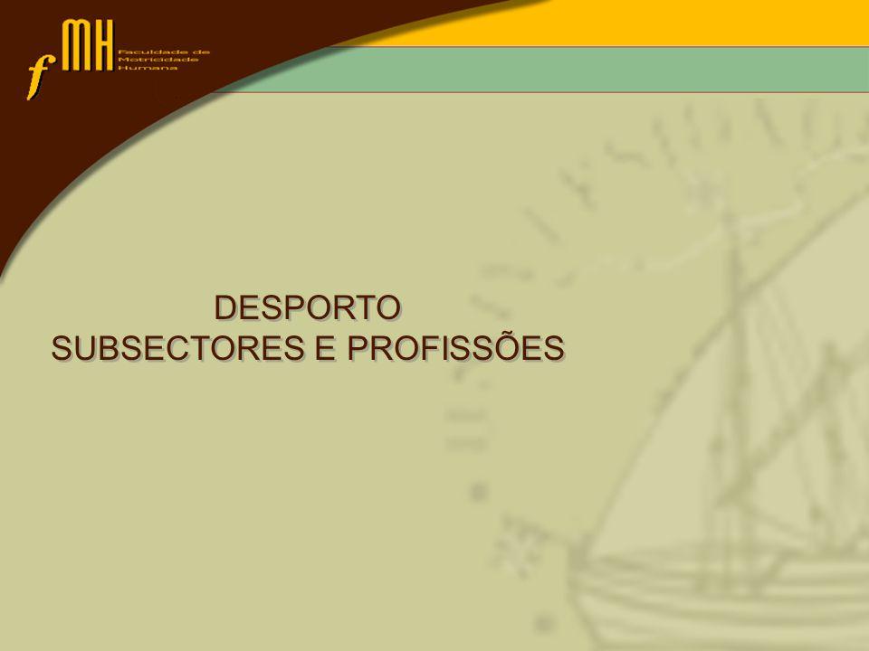 DESPORTO SUBSECTORES E PROFISSÕES DESPORTO SUBSECTORES E PROFISSÕES