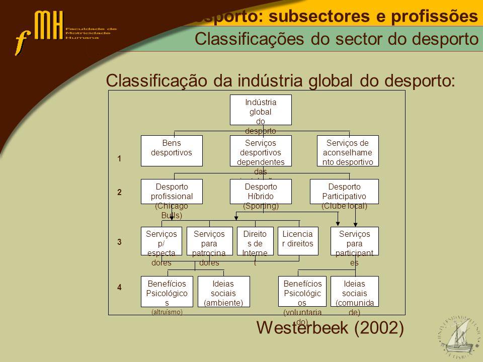 Desporto: subsectores e profissões Classificações do sector do desporto Classificação da indústria global do desporto: Westerbeek (2002) Serviços p/ e