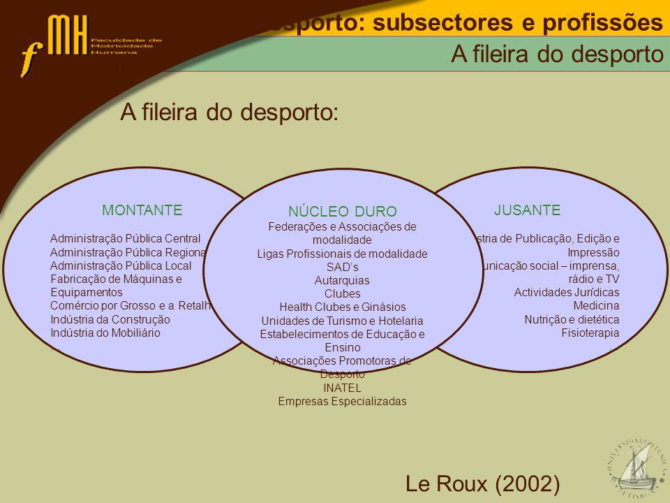 Desporto: subsectores e profissões A fileira do desporto A fileira do desporto: Le Roux (2002) MONTANTE Administração Pública Central Administração Pú