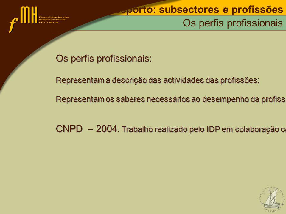 Os perfis profissionais: Representam a descrição das actividades das profissões; Representam os saberes necessários ao desempenho da profissão; CNPD –