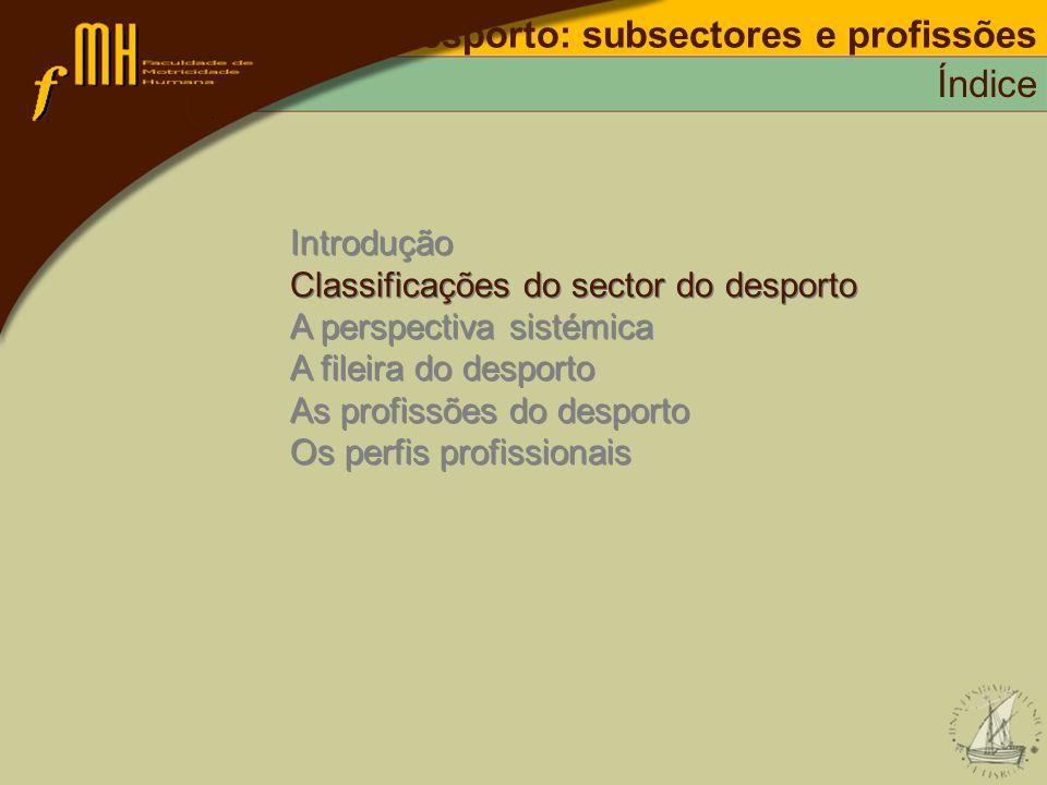 Desporto: subsectores e profissões Classificações do sector do desporto CAE – classificação das actividades económicas/classificação portuguesa das actividades económicas: Secção A – Agricultura; Secção B – Pesca; Secção C – Indústrias extractivas; Secção D – Indústrias transformadoras; Secção E – Produção; Secção F – Construção; Secção G – Comércio; Secção H – Alojamento; Secção I – Transportes; Secção J – Actividades financeiras; Secção K – Actividades imobiliárias; Secção L – Administração pública; Secção M – Educação; Secção N – Saúde e acção social; Secção O – Outras actividades e serviços; Secção P – Famílias; Secção Q – Organismos; INE – cae-rev.2/rev.2.1 (1992-2003)