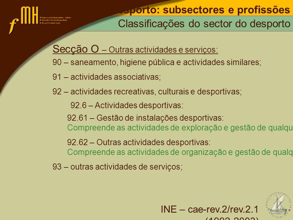 Desporto: subsectores e profissões Classificações do sector do desporto Secção O – Outras actividades e serviços: 90 – saneamento, higiene pública e a