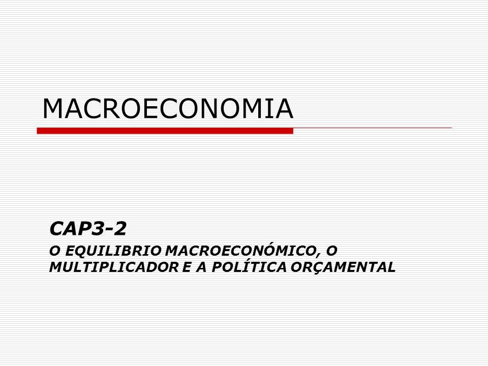 MACROECONOMIA CAP3-2 O EQUILIBRIO MACROECONÓMICO, O MULTIPLICADOR E A POLÍTICA ORÇAMENTAL