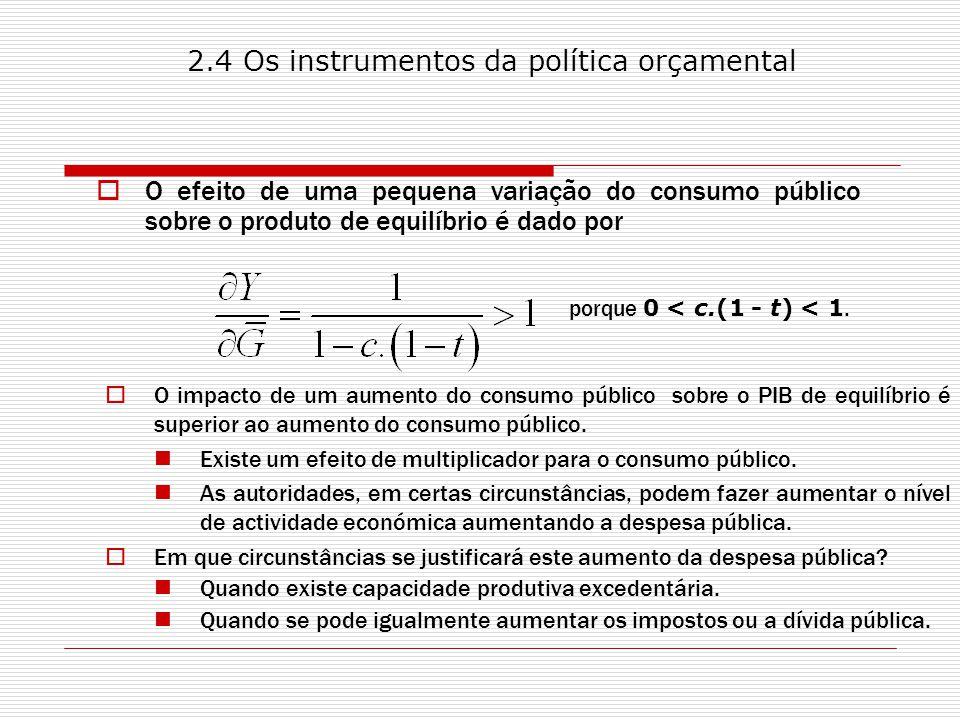O efeito de uma pequena variação do consumo público sobre o produto de equilíbrio é dado por porque 0 < c.(1 - t) < 1.