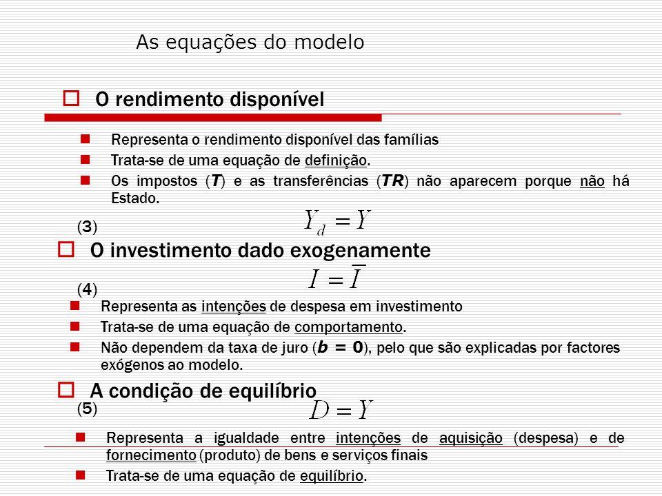 Representação gráfica do efeito multiplicador do investimento autónomo: D, C, I Y 0 45º D 0 = C + I 0 Y = D E0E0 Y0Y0 D0D0 D 1 = C + I 1 A D1D1 Y1Y1 E1E1 1.3 O efeito multiplicador