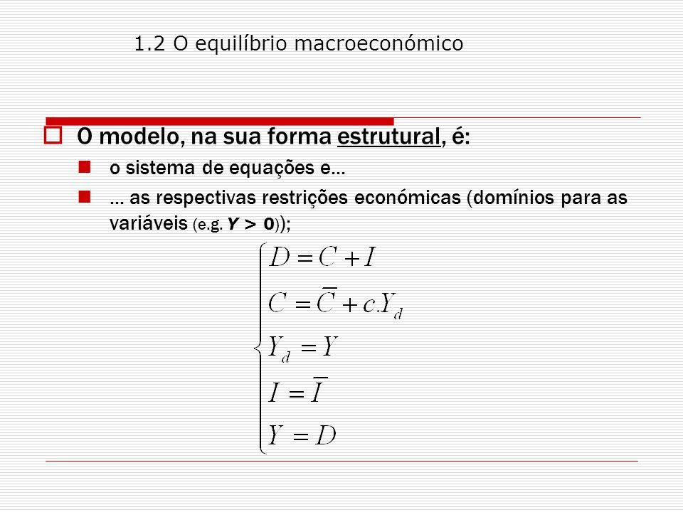 Tipos de grandezas no modelo: Variáveis endógenas: O seu valor é desconhecido à partida (ex ante).