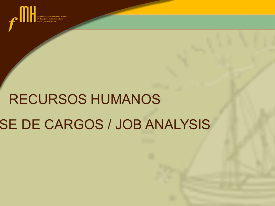 RECURSOS HUMANOS ANÁLISE DE CARGOS / JOB ANALYSIS