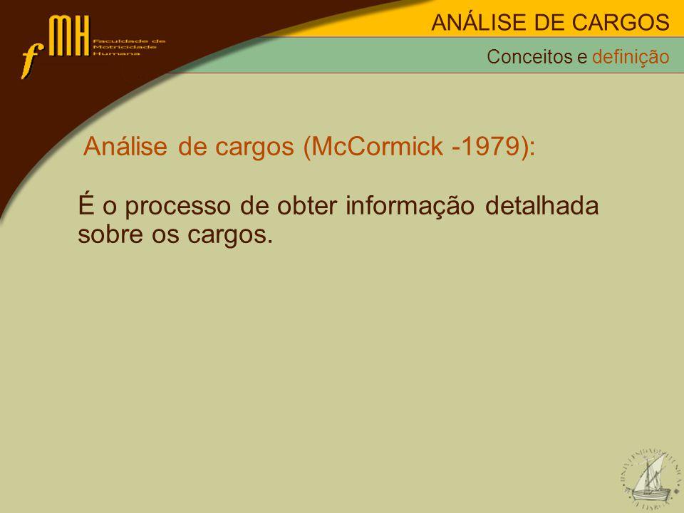 Análise de cargos (McCormick -1979): É o processo de obter informação detalhada sobre os cargos.