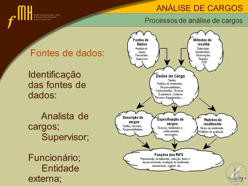 Fontes de dados: Identificação das fontes de dados: Analista de cargos; Supervisor; Funcionário; Entidade externa;...