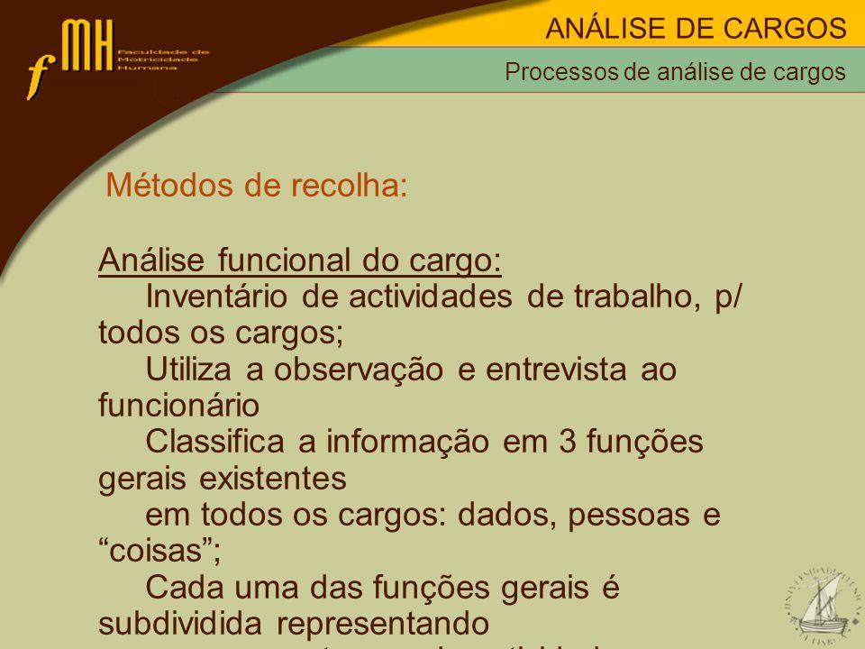 Métodos de recolha: Análise funcional do cargo: Inventário de actividades de trabalho, p/ todos os cargos; Utiliza a observação e entrevista ao funcio