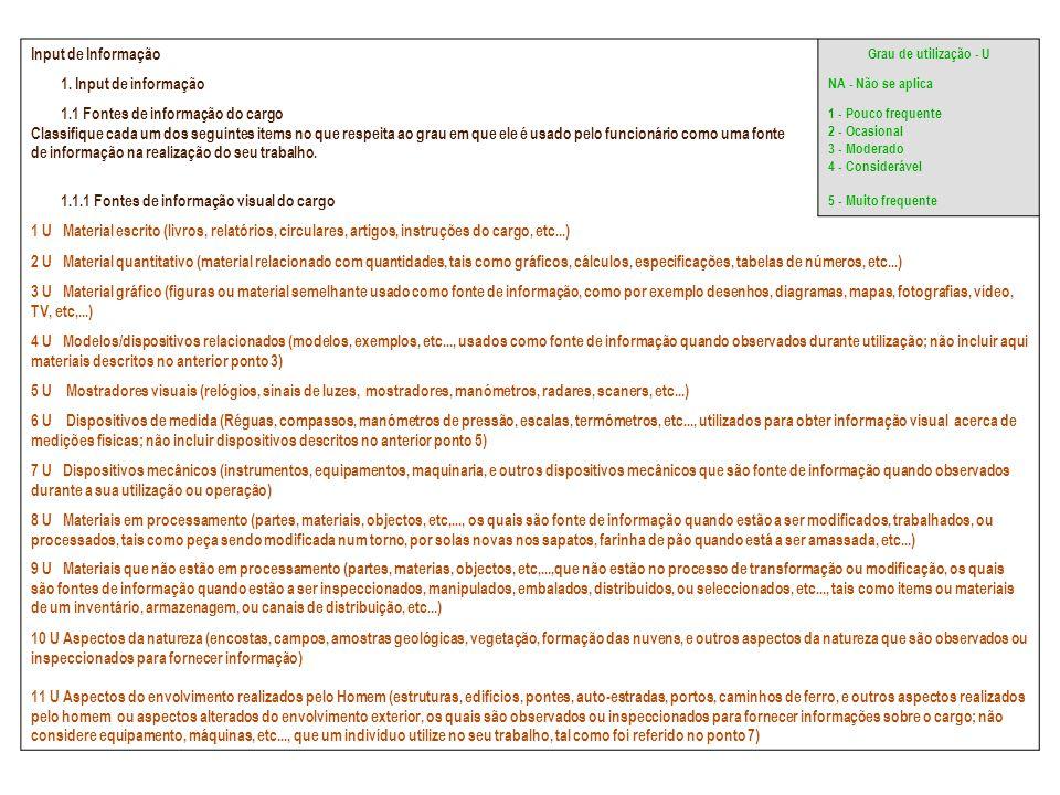 Input de Informação Grau de utilização - U 1. Input de informação NA - Não se aplica 1.1 Fontes de informação do cargo Classifique cada um dos seguint