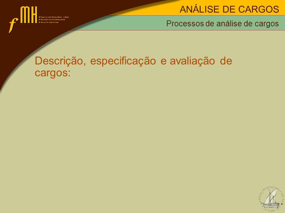 Processos de análise de cargos Descrição, especificação e avaliação de cargos: ANÁLISE DE CARGOS