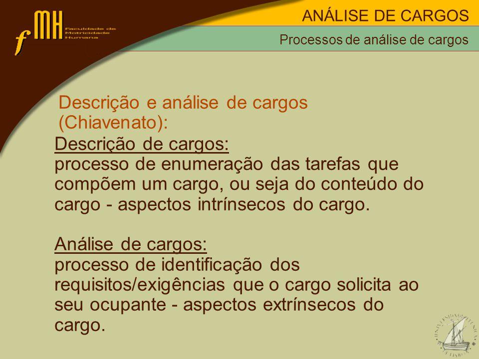 Processos de análise de cargos Descrição e análise de cargos (Chiavenato): Descrição de cargos: processo de enumeração das tarefas que compõem um cargo, ou seja do conteúdo do cargo - aspectos intrínsecos do cargo.
