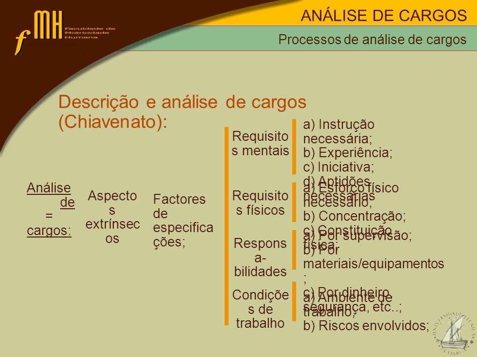 Processos de análise de cargos Descrição e análise de cargos (Chiavenato): Análise de = cargos: Aspecto s extrínsec os Factores de especifica ções; a) Instrução necessária; b) Experiência; c) Iniciativa; d) Aptidões necessárias Requisito s mentais a) Esforço físico necessário; b) Concentração; c) Constituição física; Requisito s físicos a) Por supervisão; b) Por materiais/equipamentos ; c) Por dinheiro, segurança, etc..; Respons a- bilidades a) Ambiente de trabalho; b) Riscos envolvidos; Condiçõe s de trabalho ANÁLISE DE CARGOS