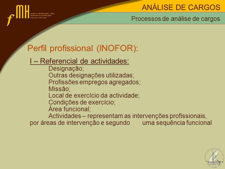 Processos de análise de cargos Perfil profissional (INOFOR): I – Referencial de actividades: Designação; Outras designações utilizadas; Profissões empregos agregados; Missão; Local de exercício da actividade; Condições de exercício; Área funcional; Actividades – representam as intervenções profissionais, por áreas de intervenção e segundo uma sequência funcional ANÁLISE DE CARGOS