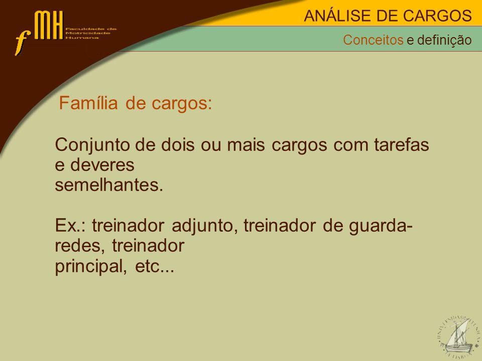 Família de cargos: Conjunto de dois ou mais cargos com tarefas e deveres semelhantes. Ex.: treinador adjunto, treinador de guarda- redes, treinador pr
