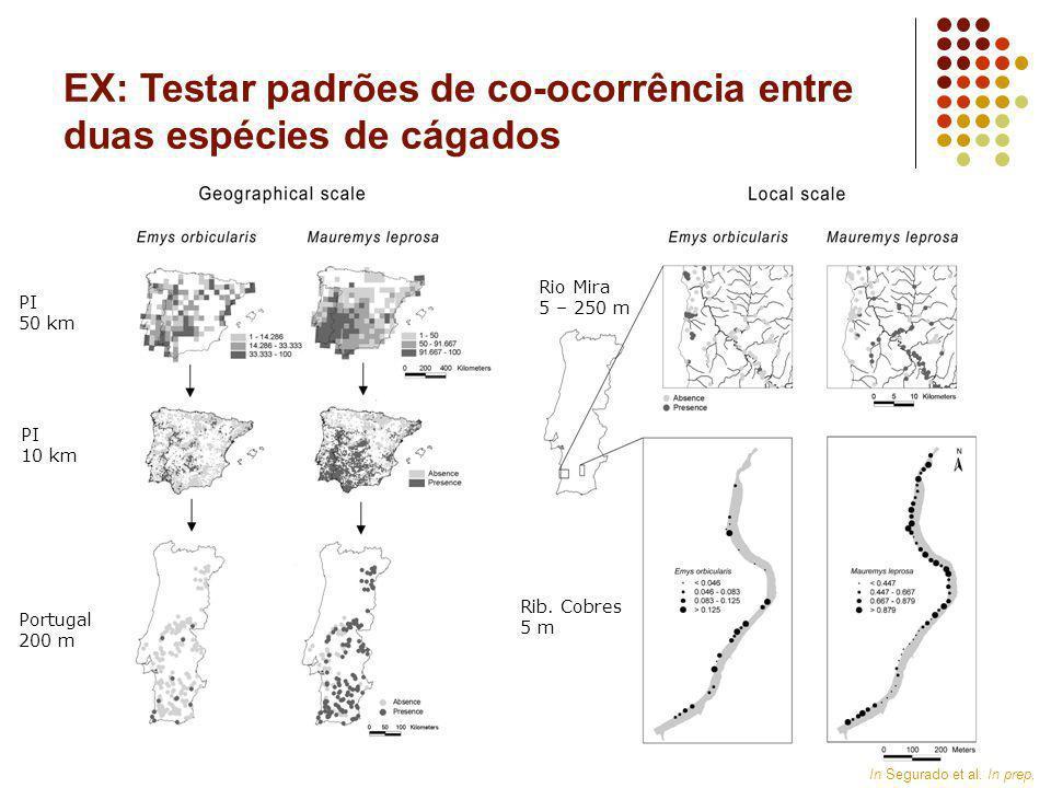 PI 50 km PI 10 km Portugal 200 m Rio Mira 5 – 250 m Rib. Cobres 5 m In Segurado et al. In prep, EX: Testar padrões de co-ocorrência entre duas espécie
