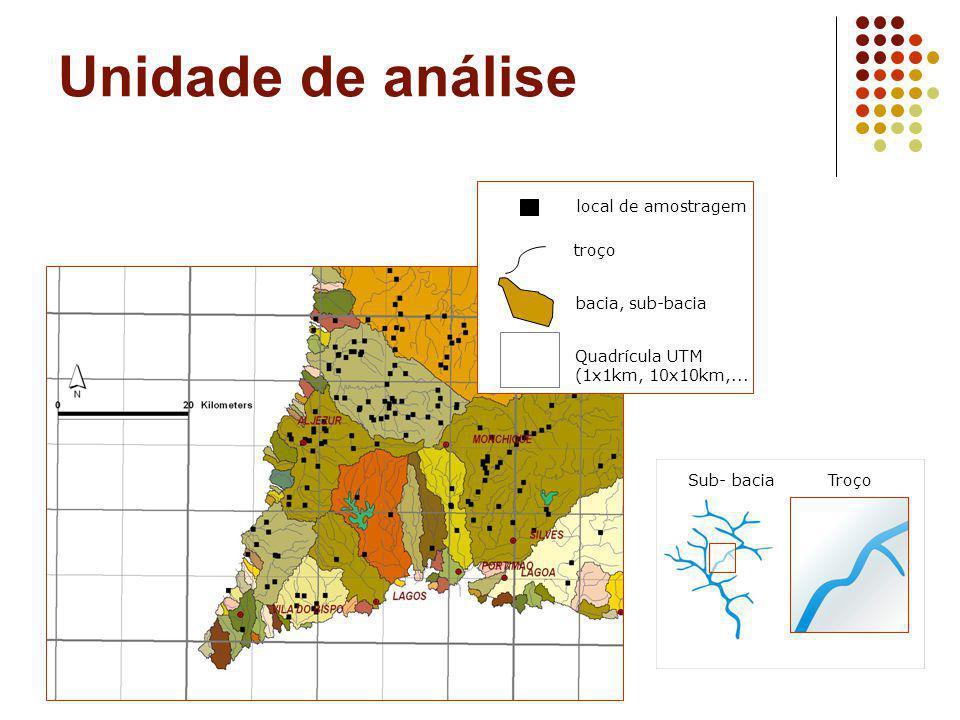 Unidade de análise Sub- baciaTroço local de amostragem troço Quadrícula UTM (1x1km, 10x10km,... bacia, sub-bacia
