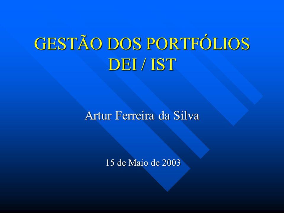 GESTÃO DOS PORTFÓLIOS DEI / IST Artur Ferreira da Silva 15 de Maio de 2003 15 de Maio de 2003
