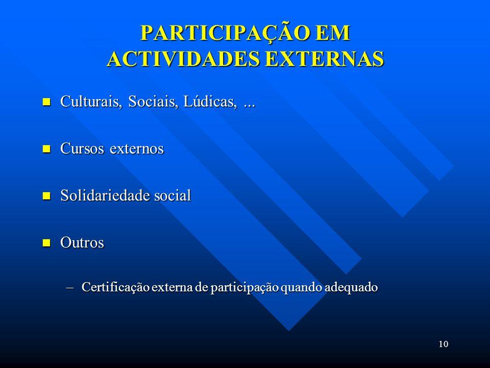 10 PARTICIPAÇÃO EM ACTIVIDADES EXTERNAS Culturais, Sociais, Lúdicas,...