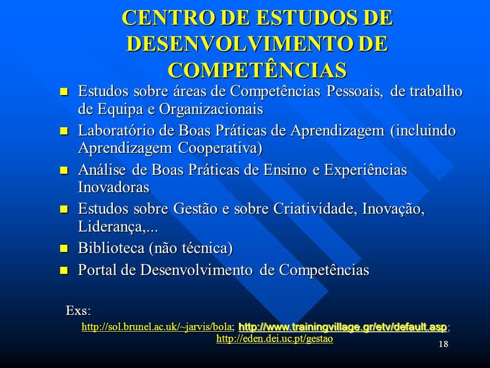 18 CENTRO DE ESTUDOS DE DESENVOLVIMENTO DE COMPETÊNCIAS Estudos sobre áreas de Competências Pessoais, de trabalho de Equipa e Organizacionais Estudos sobre áreas de Competências Pessoais, de trabalho de Equipa e Organizacionais Laboratório de Boas Práticas de Aprendizagem (incluindo Aprendizagem Cooperativa) Laboratório de Boas Práticas de Aprendizagem (incluindo Aprendizagem Cooperativa) Análise de Boas Práticas de Ensino e Experiências Inovadoras Análise de Boas Práticas de Ensino e Experiências Inovadoras Estudos sobre Gestão e sobre Criatividade, Inovação, Liderança,...