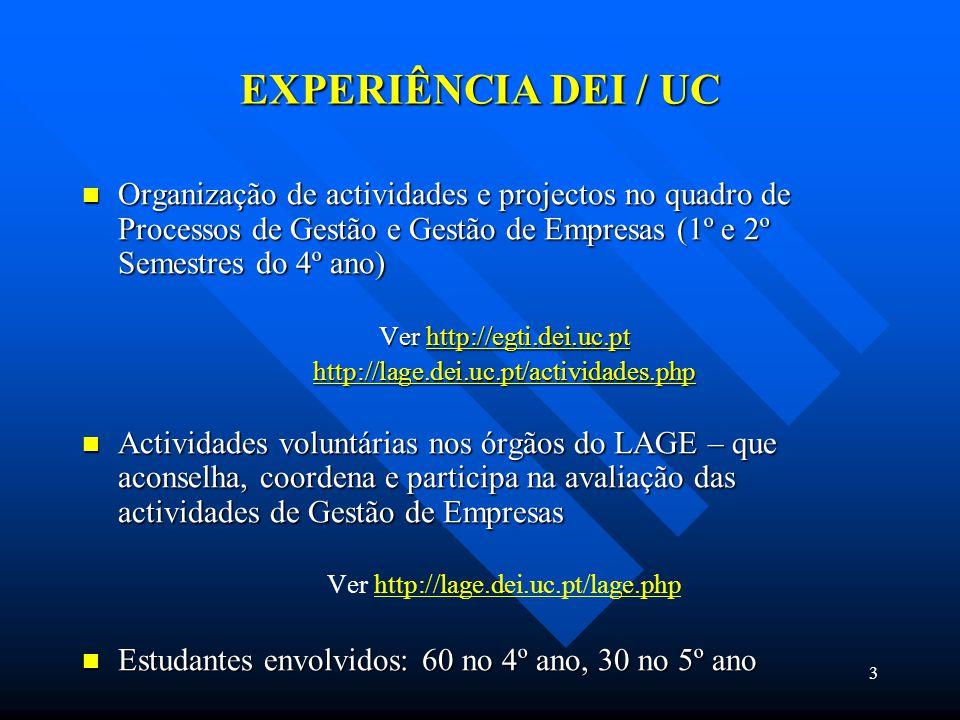 3 EXPERIÊNCIA DEI / UC Organização de actividades e projectos no quadro de Processos de Gestão e Gestão de Empresas (1º e 2º Semestres do 4º ano) Organização de actividades e projectos no quadro de Processos de Gestão e Gestão de Empresas (1º e 2º Semestres do 4º ano) Ver http://egti.dei.uc.pt http://egti.dei.uc.pt http://lage.dei.uc.pt/actividades.php Actividades voluntárias nos órgãos do LAGE – que aconselha, coordena e participa na avaliação das actividades de Gestão de Empresas Actividades voluntárias nos órgãos do LAGE – que aconselha, coordena e participa na avaliação das actividades de Gestão de Empresas Ver http://lage.dei.uc.pt/lage.phphttp://lage.dei.uc.pt/lage.php Estudantes envolvidos: 60 no 4º ano, 30 no 5º ano Estudantes envolvidos: 60 no 4º ano, 30 no 5º ano