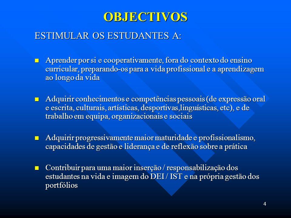 4 OBJECTIVOS ESTIMULAR OS ESTUDANTES A: Aprender por si e cooperativamente, fora do contexto do ensino curricular, preparando-os para a vida profissional e a aprendizagem ao longo da vida Aprender por si e cooperativamente, fora do contexto do ensino curricular, preparando-os para a vida profissional e a aprendizagem ao longo da vida Adquirir conhecimentos e competências pessoais (de expressão oral e escrita, culturais, artísticas, desportivas,linguísticas, etc), e de trabalho em equipa, organizacionais e sociais Adquirir conhecimentos e competências pessoais (de expressão oral e escrita, culturais, artísticas, desportivas,linguísticas, etc), e de trabalho em equipa, organizacionais e sociais Adquirir progressivamente maior maturidade e profissionalismo, capacidades de gestão e liderança e de reflexão sobre a prática Adquirir progressivamente maior maturidade e profissionalismo, capacidades de gestão e liderança e de reflexão sobre a prática Contribuir para uma maior inserção / responsabilização dos estudantes na vida e imagem do DEI / IST e na própria gestão dos portfólios Contribuir para uma maior inserção / responsabilização dos estudantes na vida e imagem do DEI / IST e na própria gestão dos portfólios