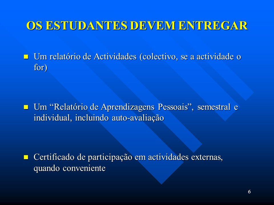 6 OS ESTUDANTES DEVEM ENTREGAR Um relatório de Actividades (colectivo, se a actividade o for) Um relatório de Actividades (colectivo, se a actividade o for) Um Relatório de Aprendizagens Pessoais, semestral e individual, incluindo auto-avaliação Um Relatório de Aprendizagens Pessoais, semestral e individual, incluindo auto-avaliação Certificado de participação em actividades externas, quando conveniente Certificado de participação em actividades externas, quando conveniente