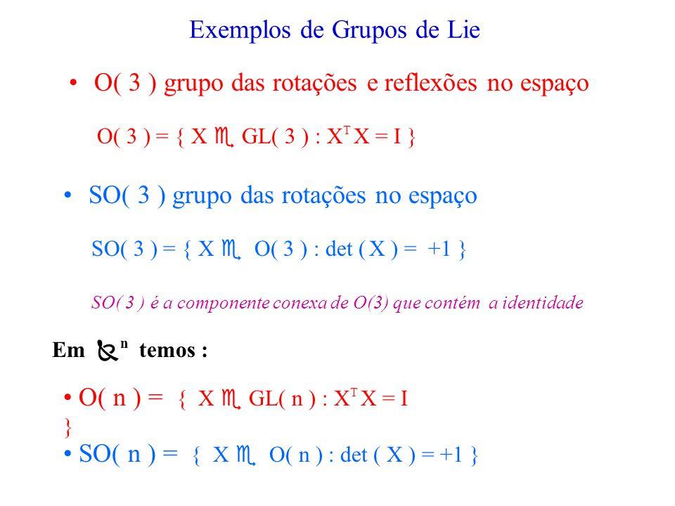 GRUPO DE LIE Um grupo de Lie G é um grupo que é também uma variedade, de tal modo que as operações do grupo m : G x G G i : G G sejam aplicações suaves entre variedades.