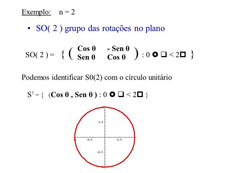 Exemplos de Grupos de Lie SO( 3 ) grupo das rotações no espaço O( 3 ) grupo das rotações e reflexões no espaço SO( 3 ) = { X O( 3 ) : det ( X ) = +1 } O( 3 ) = { X GL( 3 ) : X T X = I } SO( 3 ) é a componente conexa de O(3) que contém a identidade Em n temos : SO( n ) = { X O( n ) : det ( X ) = +1 } O( n ) = { X GL( n ) : X T X = I }