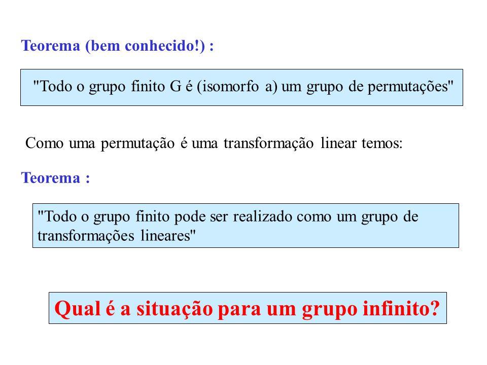 Teorema (bem conhecido!) : Todo o grupo finito G é (isomorfo a) um grupo de permutações Como uma permutação é uma transformação linear temos: Todo o grupo finito pode ser realizado como um grupo de transformações lineares Qual é a situação para um grupo infinito.