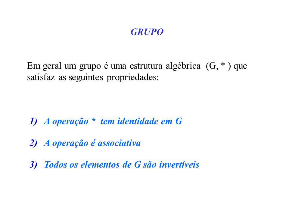 GRUPO Em geral um grupo é uma estrutura algébrica (G, * ) que satisfaz as seguintes propriedades: 1)A operação * tem identidade em G 2)A operação é associativa 3)Todos os elementos de G são invertíveis