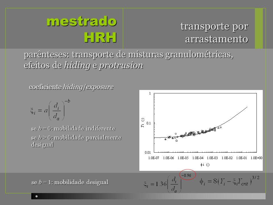 mestrado HRH transporte por arrastamento parênteses: transporte de misturas granulométricas, efeitos de hiding e protrusion coeficiente hiding/exposure se b = 0 : mobilidade indiferente se b > 0 : mobilidade parcialmente desigual se b = 1 : mobilidade desigual